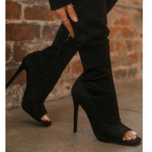 Black Lycra Squared Open Toe Ankle Booties